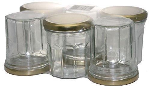 Bouchonnerie Jocondienne 676 6 Pots à Confiture 200 ML + Couvercle TO70, Verre, Transparent et Doré, 13,5 x 20 x 8,5 cm