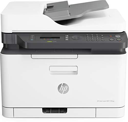 HP Color Laser MFP 179fnw 4ZB97A, Stampante Multifunzione A4 a Colori, Stampa, Copia, Scansiona, ADF, Fax, Wi-Fi, Wi-Fi Direct, Ethernet, HP Smart, USB 2.0, 18 ppm in b/n, 4 ppm, Bianca