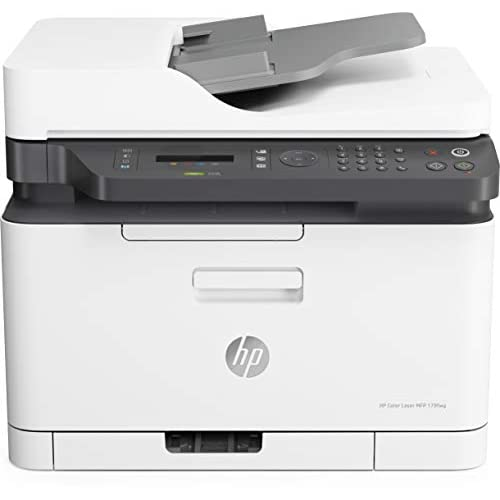 HP Color Laser MFP 179fnw 4ZB97A, Stampante Multifunzione A4 a Colori, Stampa, Copia, Scansiona, ADF, Fax, Wi-Fi, Wi-Fi Direct, Ethernet, HP Smart, USB 2.0, 18 ppm in b/n, 4 ppm, Bianca