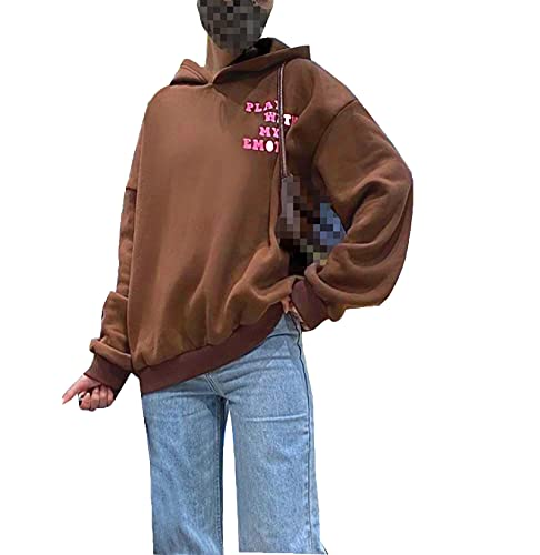 Women Casual Loose Pullover Sweatshirts,Fashion Cute Y2K Long Sleeve Oversized Hooded/Hoodless Sweater (Brown Letter Print , X-Large )
