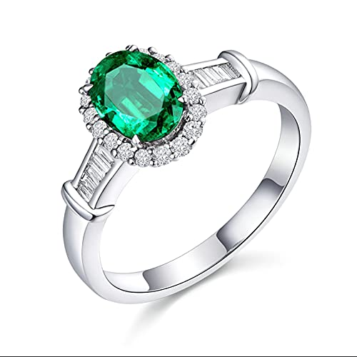 KnSam Mujer Hombre Unisex 18K oro blanco ovalada verde Emerald