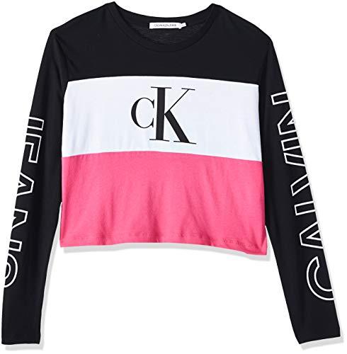 Calvin Klein Jeans Blocking Statement Logo LS Tee Camicia, Black Pink White, XL Donna