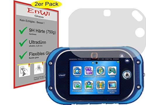 EnWi 2X Panzer-Glas-Folie 9H Display-Schutz-Folie für Kompatibel mit Vtech Kidizoom Touch 5.0