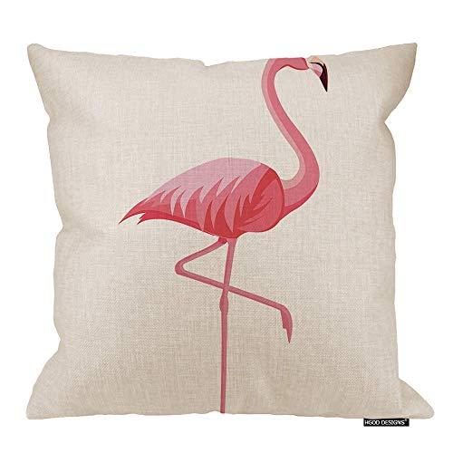 Fundas de Almohada de Flamenco, Funda de cojín Decorativa de Flamenco Rosa de Verano, Funda de Almohada Cuadrada de Lino de algodón, 18x18 Pulgadas