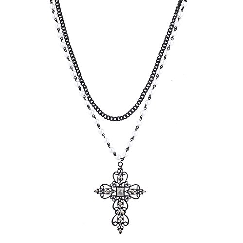 Black Tone Faux Pearl Crystal Rhinestone Filigree Cross Necklace