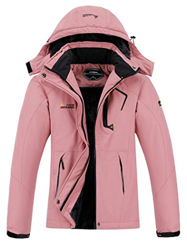 Womens Waterproof Rain and Snow Windbreaker Hooded Ski Pink Jacket