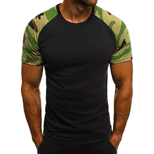 JiaMeng Moda Casual Camuflaje Delgado Impreso Manga Corta Camiseta Top Blusa Camiseta de Camuflaje Hombre Militares Camisetas Deporte