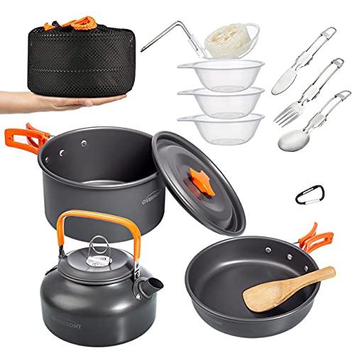 Overmont 14Pcs Kit de Utensilios Cocina Camping Olla Sartén