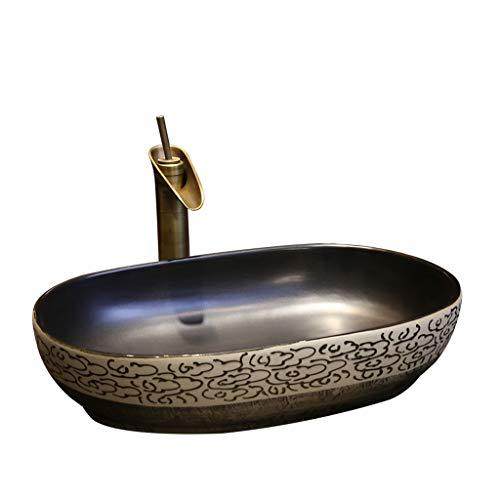 Bagno Xiangyun Art sopra lavabo da appoggio Lavabo in Ceramica Ovale Lavabo Antico Lavabo Vintage Lavabi