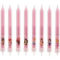dekora 346175 Velas de Cumpleaños Infantiles de Princesas Disney de 9 cm-8 Unidades, Cera, Rosa, 8 x 8 x 12 cm