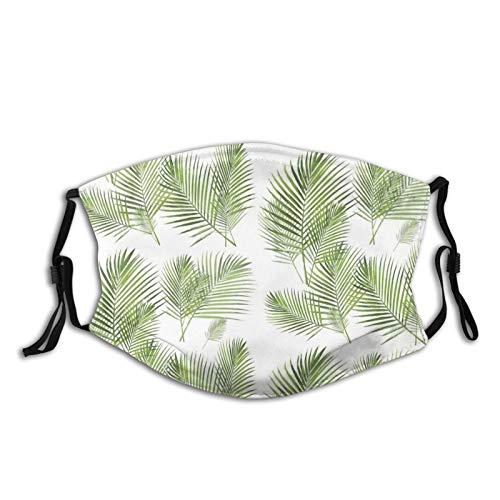 Areca Palm Frond Palm Stofmasker, wasbaar, mondbeschermer met vervangbaar filter, actieve kool, zacht, ademend outdoor/sport/motor/fietsen volwassenen