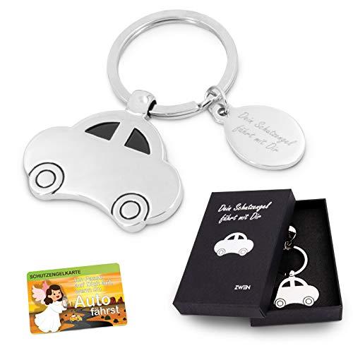 ZWEN Auto-Schlüsselanhänger Schutzengel-Gravur mit Geschenkbox + Schutzengelkarte I Glücksbringer Silber glänzend als Talisman für Auto-Fahrer & als Geschenk zum Führerschein