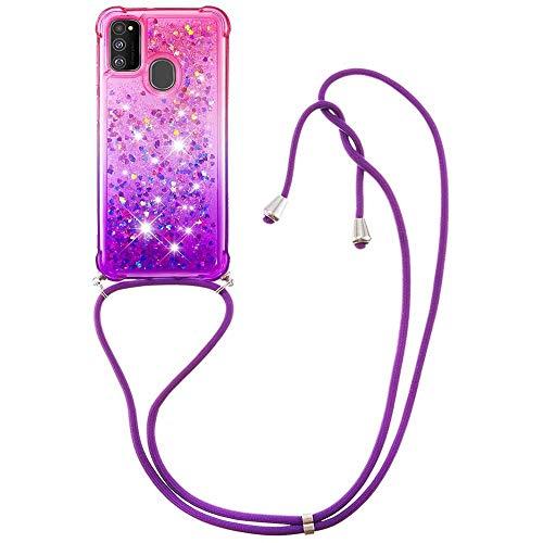 Miagon Galaxy A21S Glitzer Flüssig Halskette Hülle,Flüssigkeit Treibsand Kordel zum Umhängen Necklace Crossbody Cover mit Band Schnur Case für Samsung Galaxy A21S
