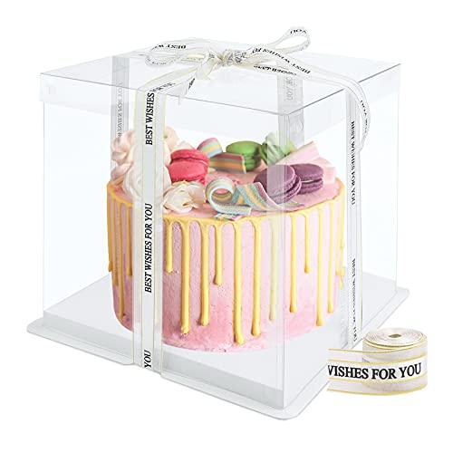 Caja de pastel transparente Cajas de regalo de plástico con tapas Caja de pastel de doble capa Cajas de presentación de plástico con base y cinta Caja de embalaje de panadería para postre 8 Inch