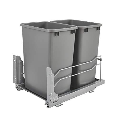 Rev-A-Shelf 53WC-1835SCDM-217 Double 35 Quart Undermount Kitchen Cabinet Pullout Waste Container with Soft Close, Gray