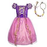 Lito Angels Disfraz de Princesa Rapunzel Vestido de Fiesta de Cumpleaños con Peluca Trenzada para Niña, Talla 13-14 años, Morada
