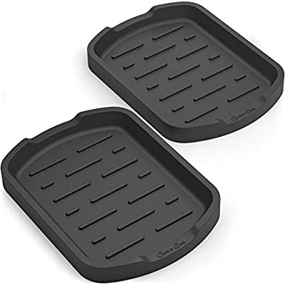 GOOD TO GOOD Sponge holder - Soap holder - Silicone Organizer Tray Set of 2 - for Spoon rest, Sponges, Soap Dispenser, Scrubber, and Other Dishwashing Accessories - Black