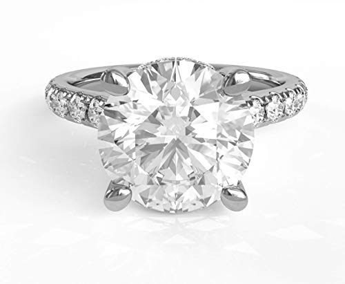 Moissanite and Diamond Engagement Ring 2 Carat Moissanite Center Stone Surrounded by Natural Diamond