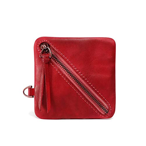 Men's Vintage Coin Purse Handmade Old Simple Purses Full Grain Leather Slash Zippered Pouch - red - 3.54x0.19x2.36