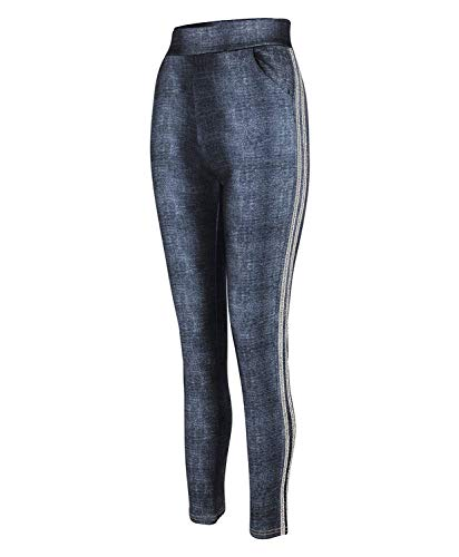 LOTMART Vrouwen Denim Look Leggings Bottoms Zijdelings Glitter Inserts