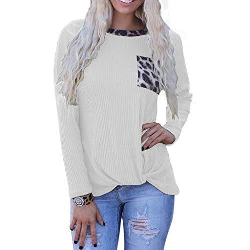 ReooLy Mujeres Leopardo Estampado Patchwork Bolsillo Manga Larga Jersey Casual Blusa(Blanco,XL)
