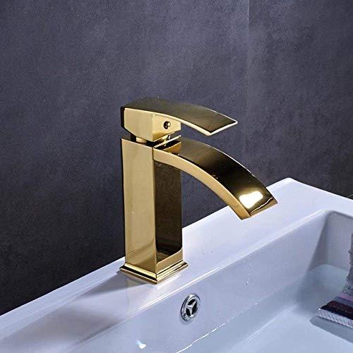 Wastafelkraan vierkant gemonteerd op waterval waterval wastafel wastafel wastafel wastafel waterkraan eengreepsmengkraan messing goud zwart mengkraan met deksel Golden Color
