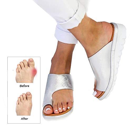 CCCS Strand Reise Schuhe,Plattform Sandale,Korrektive Sandalen,Sommer Leder Flip Flops