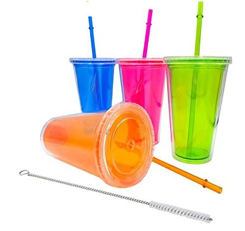 ML Pack 4 Vasos plastico Duro Doble Pared con Tapa y Pajita Reutilizable Libre de BPA, Doble Aislamiento Anti Fugas para Bebidas frias infusiones Cepillo Limpia Pajita 500ml