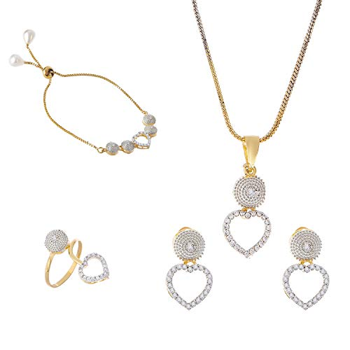 Zeneme Jewellery Set American Diamond Heart Shaped Necklace Set with Earrings, Bracelet and Ring Jewellery for Girls and Women