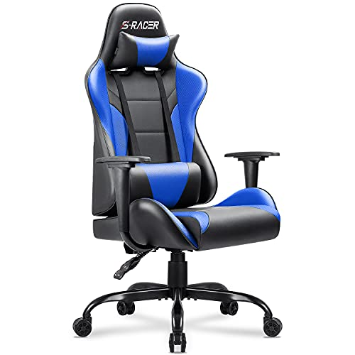 Homall Gaming Office Chair Computer Chair High Back Racing Desk Chair PU Leather Adjustable Seat Height Swivel Chair Ergonomic Executive Chair with Headrest for Adults (Blue)