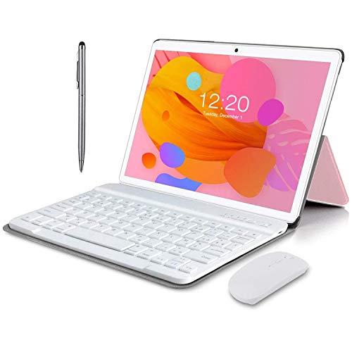 Tablet 10 Pulgadas Android 10.0, 4G LTE Tablets, 4GB de RAM y 64 GB/Scalabile a 128 GB, Dobles SIM, GPS, WiFi, 8000mAH,Teclado Bluetooth, Ratón, Funda para Tableta y Más Incluidos