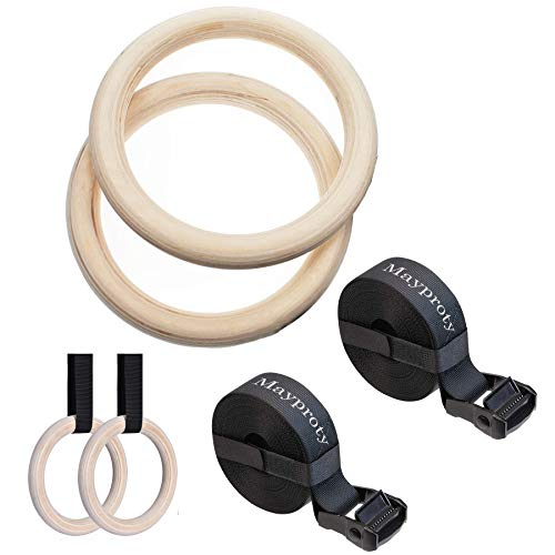 Mayporty Gym Ringe Turnringe Holz Gymnastikringe mit verstellbaren Buckles Straps 32 mm Birke Gym Rings Professionelle für Fitness Training Workouts