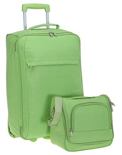 SPEAR Reise Koffer Set Light 60 cm + Beautycase Reisekoffer Trolley + Flüssigkeitenbeutel (Leaf Green / Grün)
