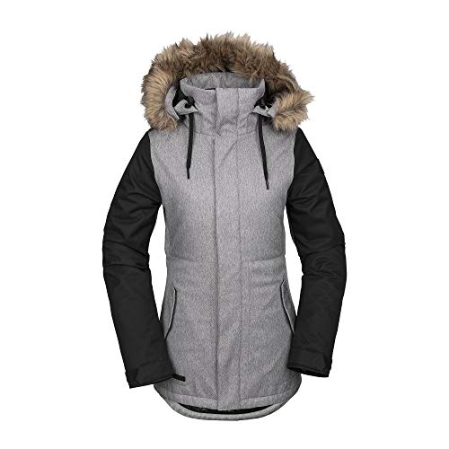 Volcom Women's Fawn Insulated Snow Jacket, Heather Grey, Extra Large