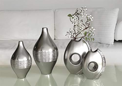 Dreamlight Moderne Dekovase Blumenvase Vase aus Keramik Silber Matt und glänzend Höhe 25 Breite 20 cm
