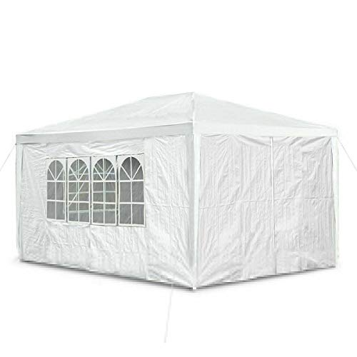 JAOSY 3M x 4M Waterproof Gazebo Outdoor Party Wedding Event Shelter Tent with 4 Removable Side Walls (3 with Windows 1 with Zip) for all seasons, 5 Year Warranty, White