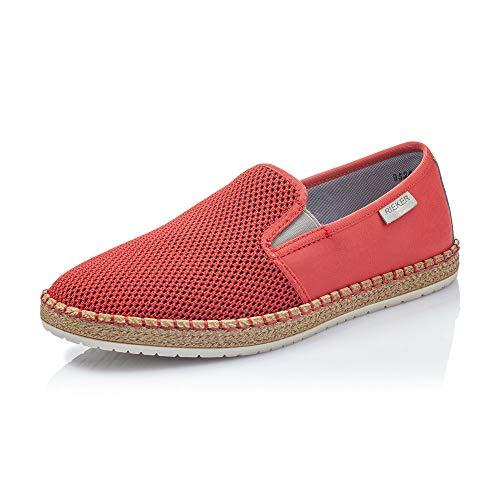 Rieker Hombre Mocasines B5264, de Caballero Zapatilla Deportiva,Calzado de Medio Zapato,Slip-on,Zapato de Ocio,Red-Black,44 EU / 9,5 UK
