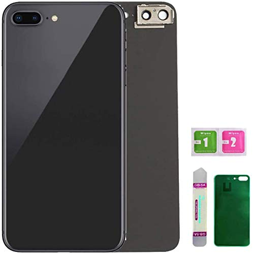 Afeax OEM Back Glass Cover Back Battery Door Installed Camera Frame Lens Replacement for iPhone 8 Plus (Space Grey or Black)