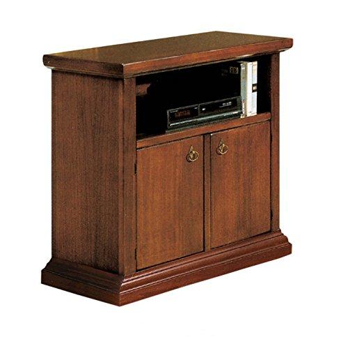 Meuble TV TV 2 portes, 1 porte à jour en bois Art pauvre Couleur noyer