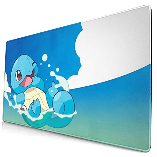 Anime Po-Ke_Mon Squirtle Mouse Pad Laptop Non-Slip Rubber Base Extension Game Large Mouse Pad Office Home Gamer 15.8x29.5in