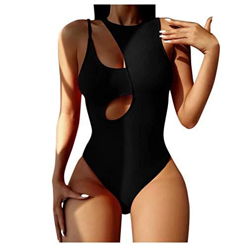 VESNIBA Bañador de mujer para el vientre, monokini, adelgazante, push-up, cuello alto, para la playa Negro S