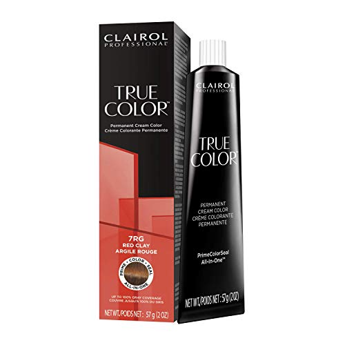 Clairol Professional TRUE COLOR Permanent Cream Hair Color 7RG Red Clay, 2 oz.