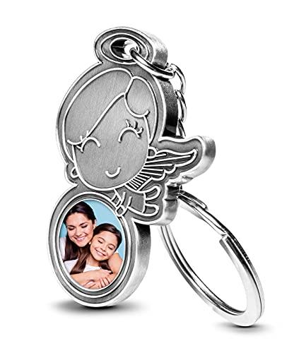 schenkYOU Premium Schutzengel Schlüsselanhänger mit Foto auf Metall – personalisierte Geschenkidee für deine Lieblingsmenschen - Glücksbringer Geschenk Auto Führerschein