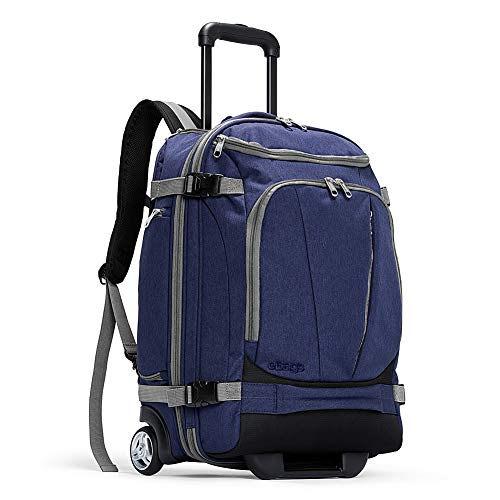 eBags TLS Mother Lode Rolling Weekender 22 Inch Travel Backpack with Wheels - Carry-On - (Brushed Indigo)