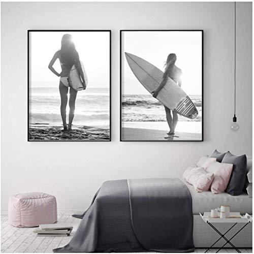 YHJJ Tabla de Surf de Estilo nórdico con Figuras de Chicas Carteles nórdicos e imágenes de Pared en Blanco y Negro para Sala de Estar 2 Piezas 50x70cm sin Marco