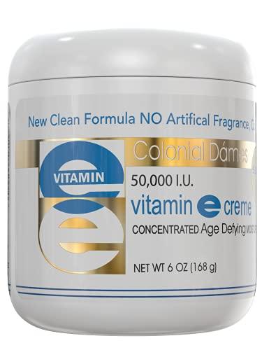 Colonial Dames Vitamin E Cream, 50,000 IU Vitamin E Cream For Skin 6 oz, High Potency Vitamin E For Face, HPLC Verified, Without Artificial Fragrance and Color.