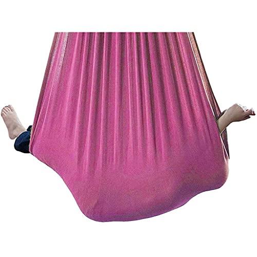 Silla de Columpio sensorial Asiento Colgante Aeréreo Ajustable Yoga Hamaca Sensor de Hamaca para niños o Adultos Terapia de la Cuerda de árbol (Color : Pink, Size : 150 * 280cm)