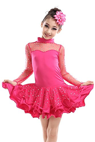 BOZEVON Kinder Latein Tanz Rock Frühling und Sommer Mädchen Performance Kostüme