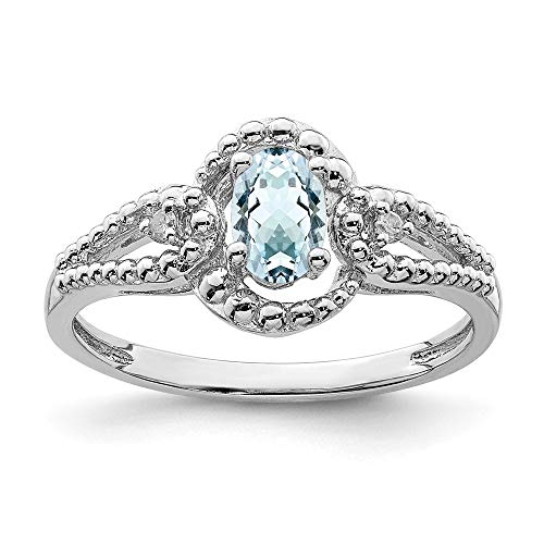 925 Sterling Silver Blue Aquamarine Diamond Band Ring Size 6.00 Birthstone March Gemstone Fine Jewellery For Women Gifts For Her