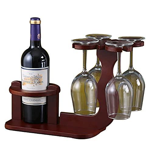 Botelleros Vino Vertical Armario de Alcohol Decorativos Mueble Madera Botellas de Vino Estante con 4 Soporte de Vidrio para Vinoteca Salon Bar - Rojo Marrón